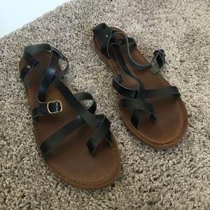 Merona Strappy Black & Brown Sandals